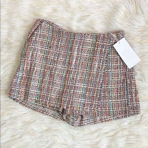 Zara tweed wrapped multi colored skort
